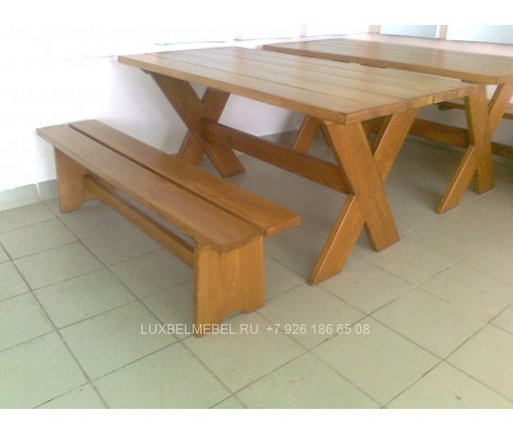 Набор стол скамья из массива 0027