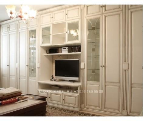 Стенка для гостиной из массива модель 047 заказать в Москве