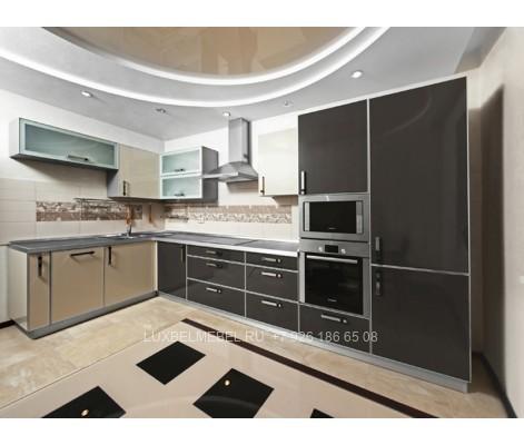Кухня с пластиковыми фасадами в стиле хай-тек модель 044 заказать в Москве